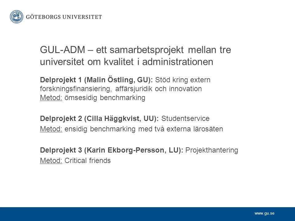 www.gu.se GUL-ADM – ett samarbetsprojekt mellan tre universitet om kvalitet i administrationen Delprojekt 1 (Malin Östling, GU): Stöd kring extern forskningsfinansiering, affärsjuridik och innovation Metod: ömsesidig benchmarking Delprojekt 2 (Cilla Häggkvist, UU): Studentservice Metod: ensidig benchmarking med två externa lärosäten Delprojekt 3 (Karin Ekborg-Persson, LU): Projekthantering Metod: Critical friends