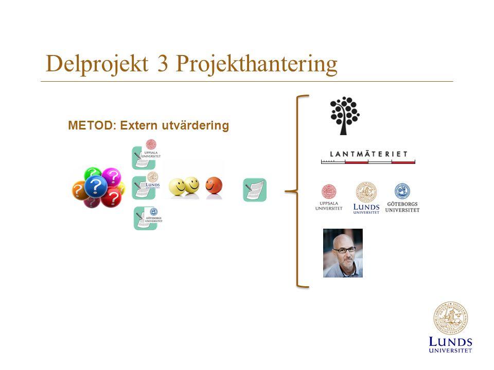 Delprojekt 3 Projekthantering METOD: Extern utvärdering