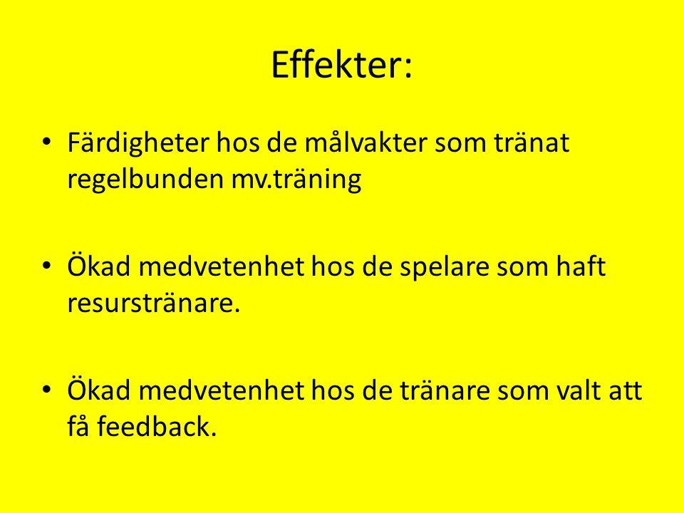 Effekter: Färdigheter hos de målvakter som tränat regelbunden mv.träning Ökad medvetenhet hos de spelare som haft resurstränare. Ökad medvetenhet hos