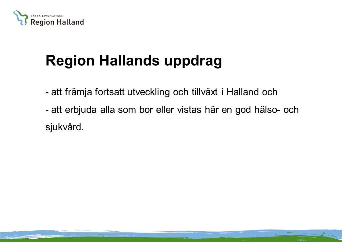 Region Hallands uppdrag - att främja fortsatt utveckling och tillväxt i Halland och - att erbjuda alla som bor eller vistas här en god hälso- och sjukvård.
