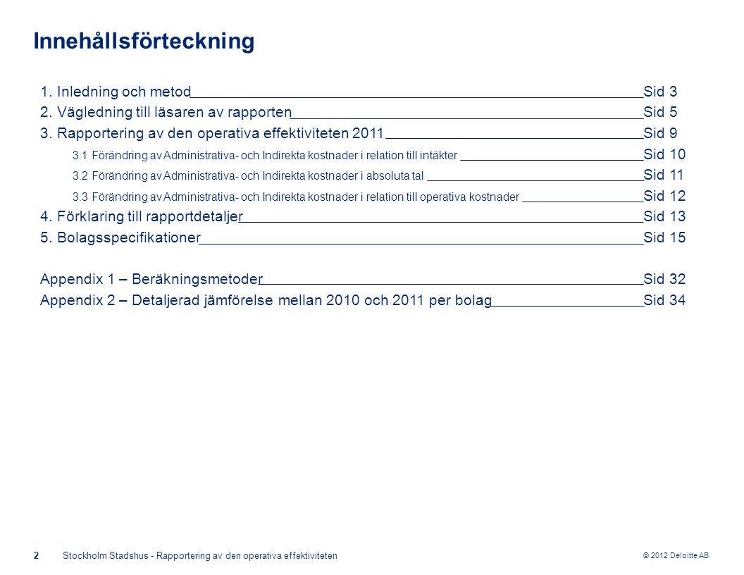 © 2012 Deloitte AB 2Stockholm Stadshus - Rapportering av den operativa effektiviteten Innehållsförteckning 1.