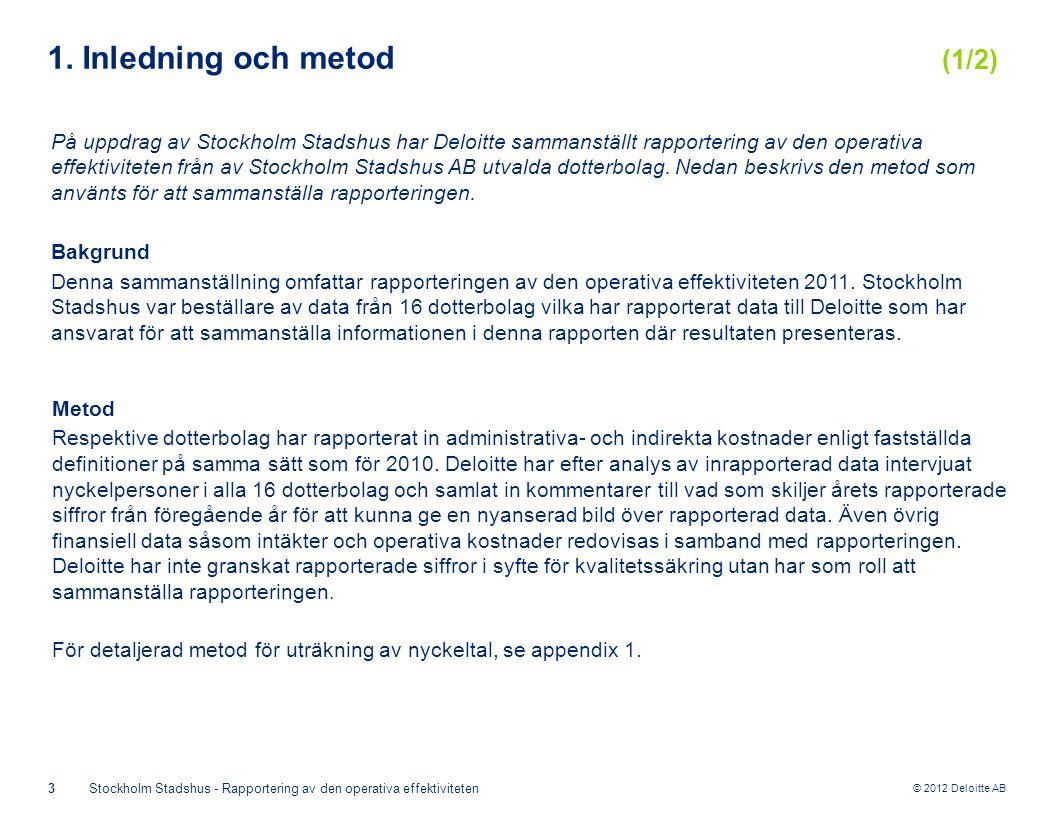 © 2012 Deloitte AB 3Stockholm Stadshus - Rapportering av den operativa effektiviteten 1.