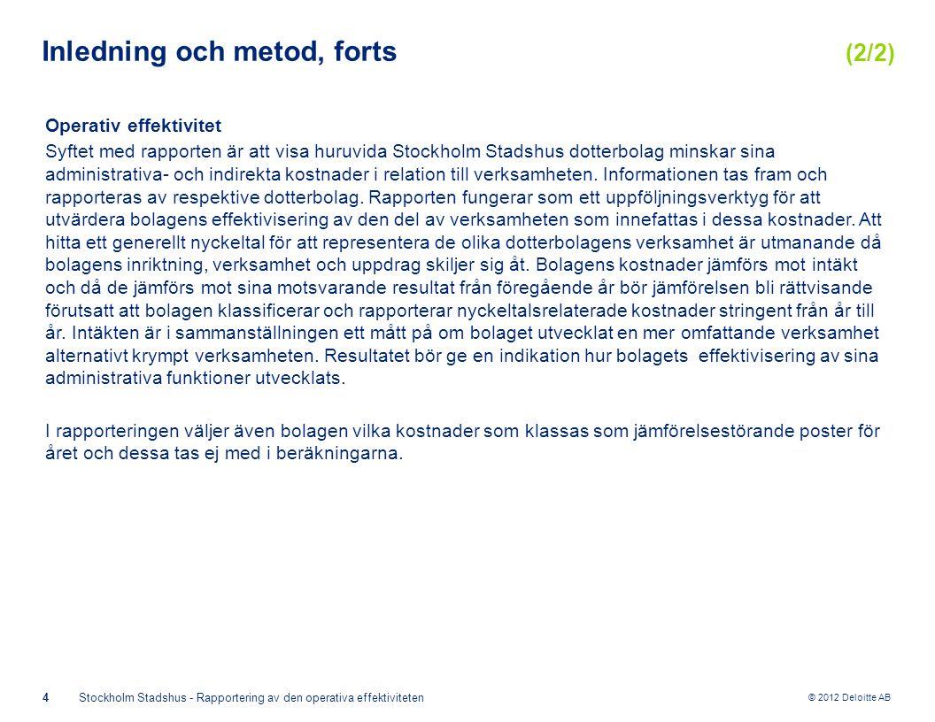 © 2012 Deloitte AB 4Stockholm Stadshus - Rapportering av den operativa effektiviteten Inledning och metod, forts (2/2) Operativ effektivitet Syftet med rapporten är att visa huruvida Stockholm Stadshus dotterbolag minskar sina administrativa- och indirekta kostnader i relation till verksamheten.