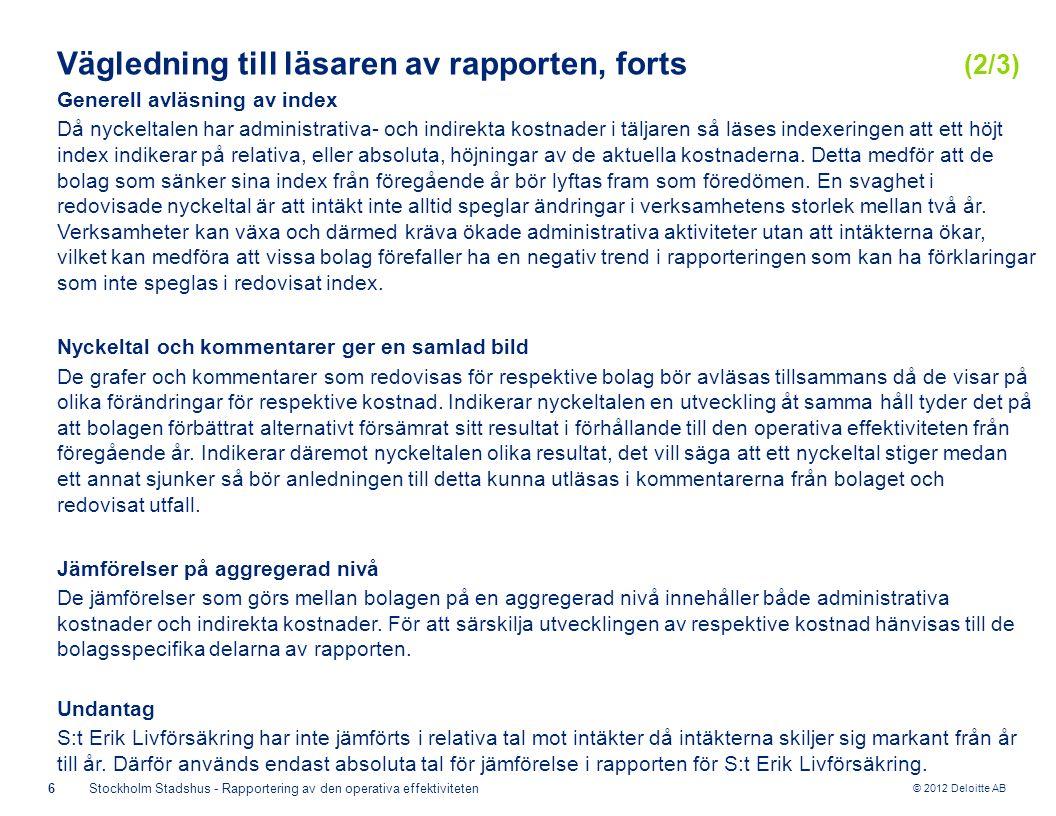 © 2012 Deloitte AB 6Stockholm Stadshus - Rapportering av den operativa effektiviteten Generell avläsning av index Då nyckeltalen har administrativa- och indirekta kostnader i täljaren så läses indexeringen att ett höjt index indikerar på relativa, eller absoluta, höjningar av de aktuella kostnaderna.