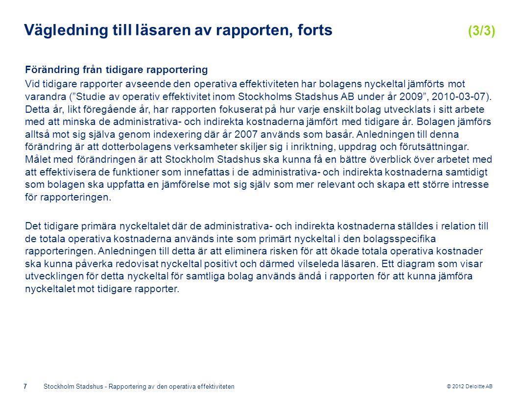 © 2012 Deloitte AB 7Stockholm Stadshus - Rapportering av den operativa effektiviteten Vägledning till läsaren av rapporten, forts (3/3) Förändring från tidigare rapportering Vid tidigare rapporter avseende den operativa effektiviteten har bolagens nyckeltal jämförts mot varandra ( Studie av operativ effektivitet inom Stockholms Stadshus AB under år 2009 , 2010-03-07).