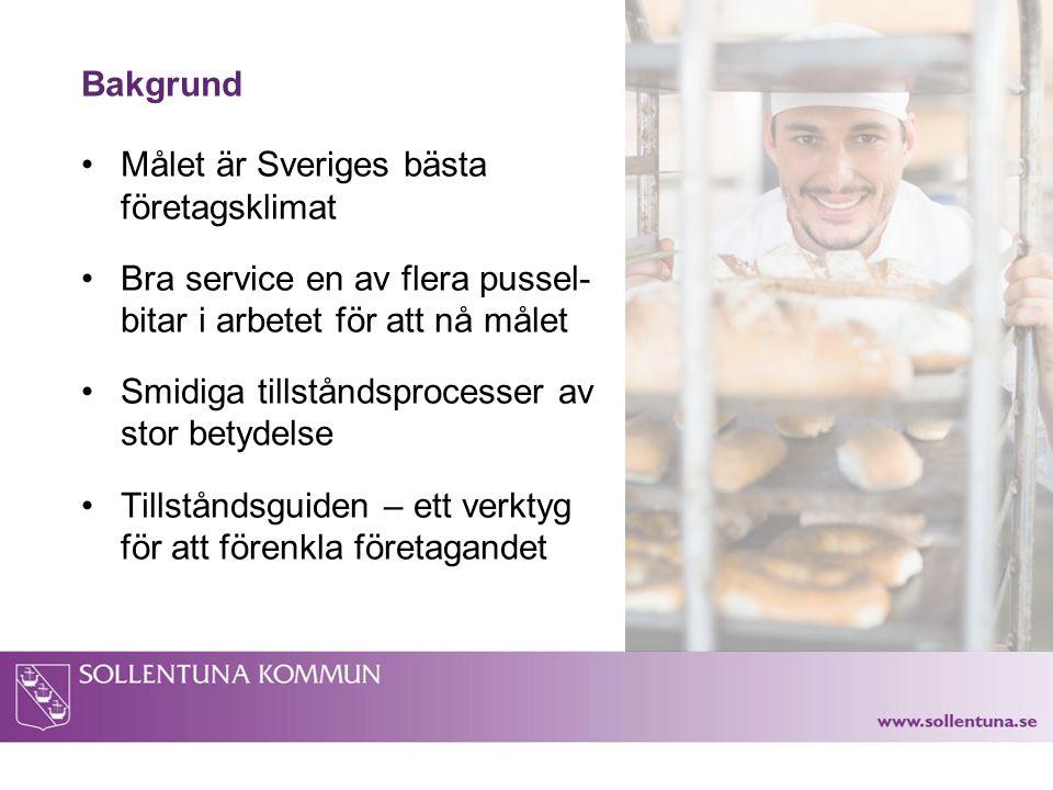 Bakgrund Målet är Sveriges bästa företagsklimat Bra service en av flera pussel- bitar i arbetet för att nå målet Smidiga tillståndsprocesser av stor b