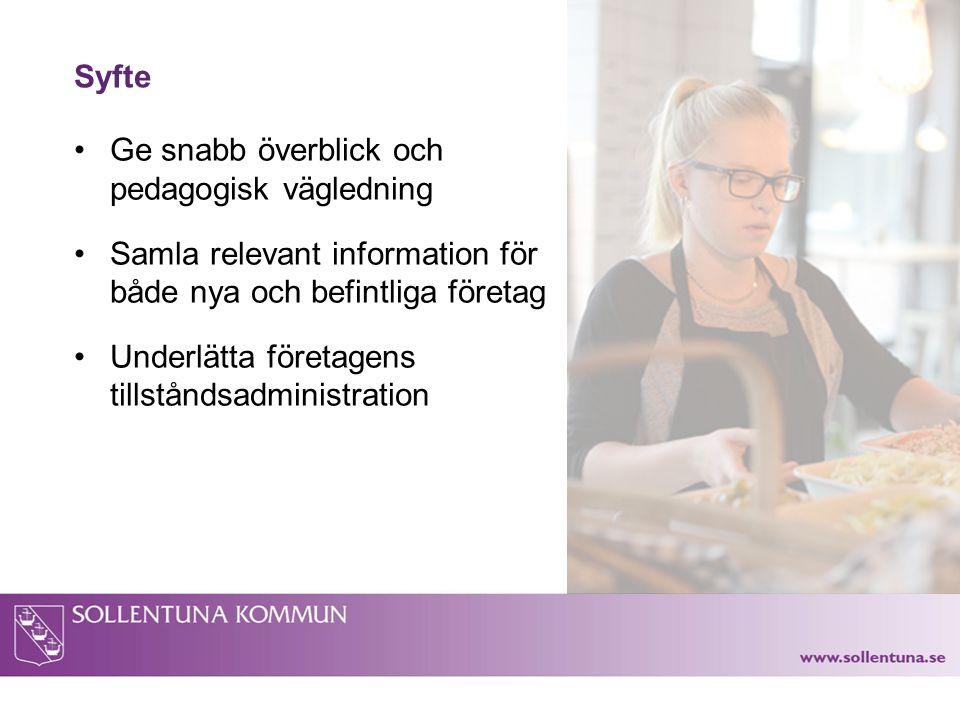 Syfte Ge snabb överblick och pedagogisk vägledning Samla relevant information för både nya och befintliga företag Underlätta företagens tillståndsadministration