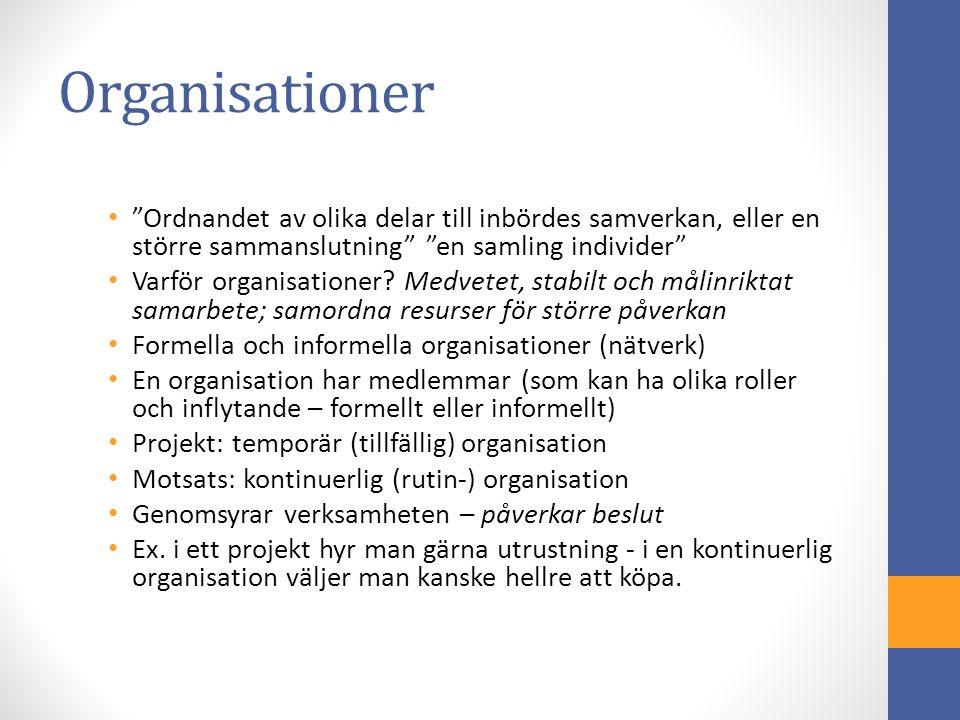 Organisationer Ordnandet av olika delar till inbördes samverkan, eller en större sammanslutning en samling individer Varför organisationer.
