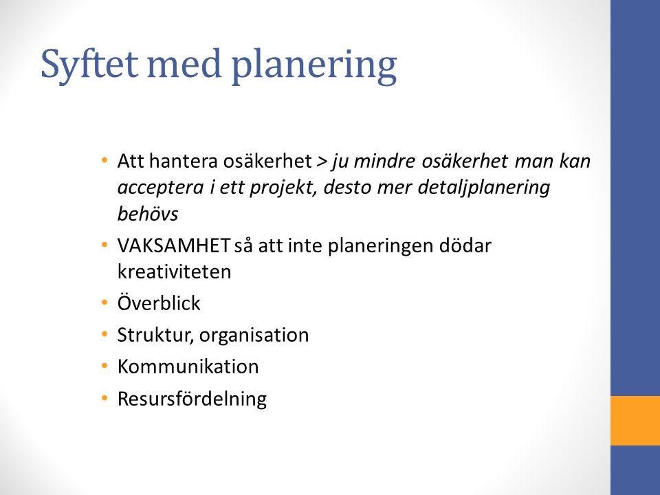 Övergripande projektplan Kommunikationsverktyg – ett sätt att berätta för andra vad projektet skall handla om Syftar till att ge en helikopterbild av projektet Parallell i företagssammanhang: Affärsplan (se ex.