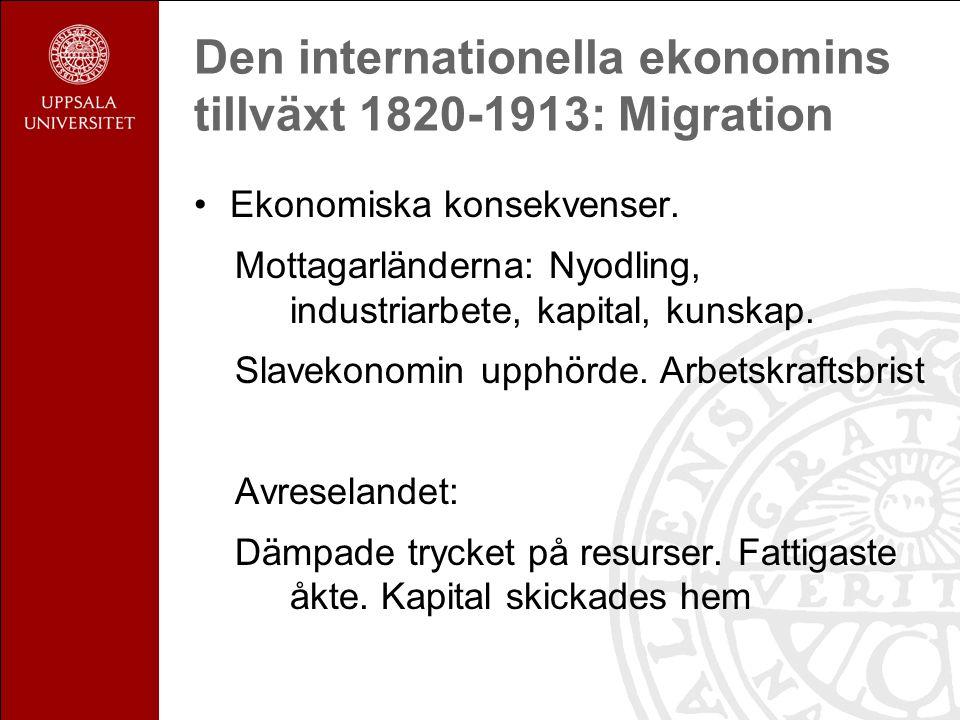 Den internationella ekonomins tillväxt 1820-1913: Migration Ekonomiska konsekvenser.