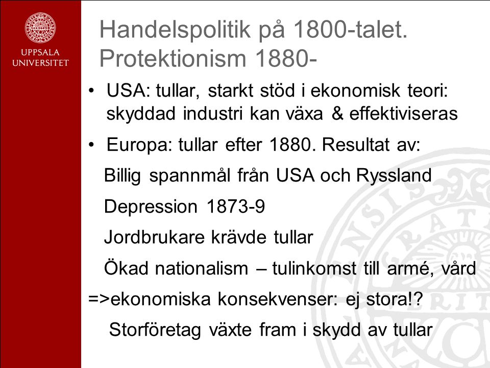 Handelspolitik på 1800-talet.
