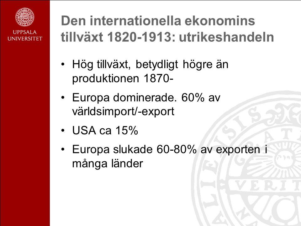 Den internationella ekonomins tillväxt 1820-1913: utrikeshandeln Hög tillväxt, betydligt högre än produktionen 1870- Europa dominerade.