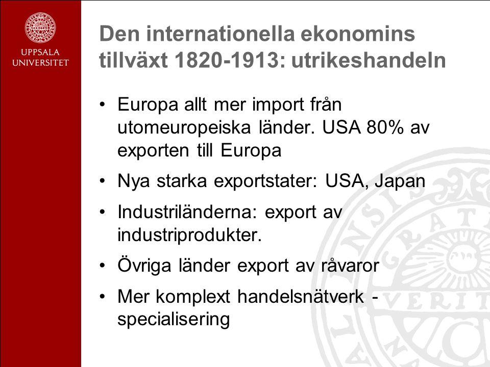 Den internationella ekonomins tillväxt 1820-1913: utrikeshandeln Europa allt mer import från utomeuropeiska länder.