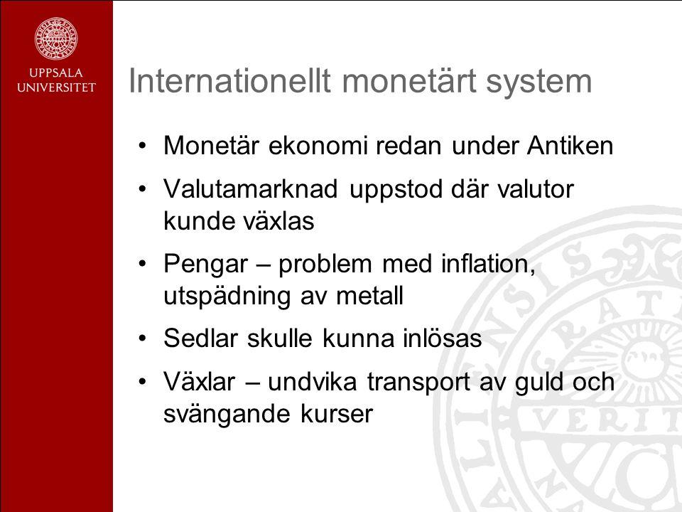 Internationellt monetärt system Monetär ekonomi redan under Antiken Valutamarknad uppstod där valutor kunde växlas Pengar – problem med inflation, utspädning av metall Sedlar skulle kunna inlösas Växlar – undvika transport av guld och svängande kurser