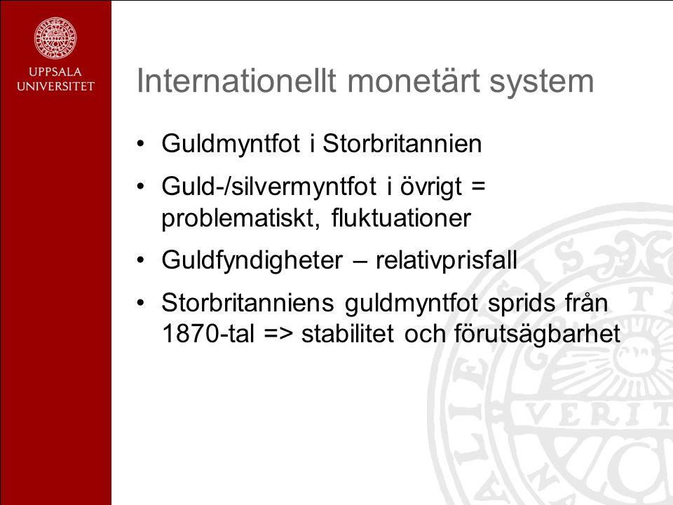 Internationellt monetärt system Guldmyntfot i Storbritannien Guld-/silvermyntfot i övrigt = problematiskt, fluktuationer Guldfyndigheter – relativprisfall Storbritanniens guldmyntfot sprids från 1870-tal => stabilitet och förutsägbarhet