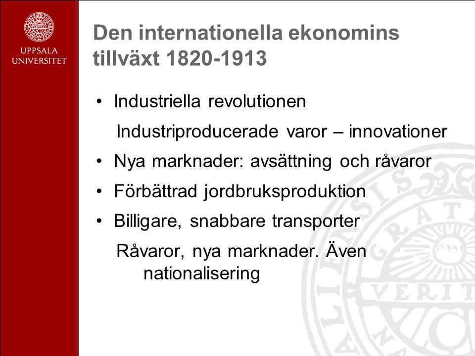 Den internationella ekonomins tillväxt 1820-1913 Industriella revolutionen Industriproducerade varor – innovationer Nya marknader: avsättning och råvaror Förbättrad jordbruksproduktion Billigare, snabbare transporter Råvaror, nya marknader.