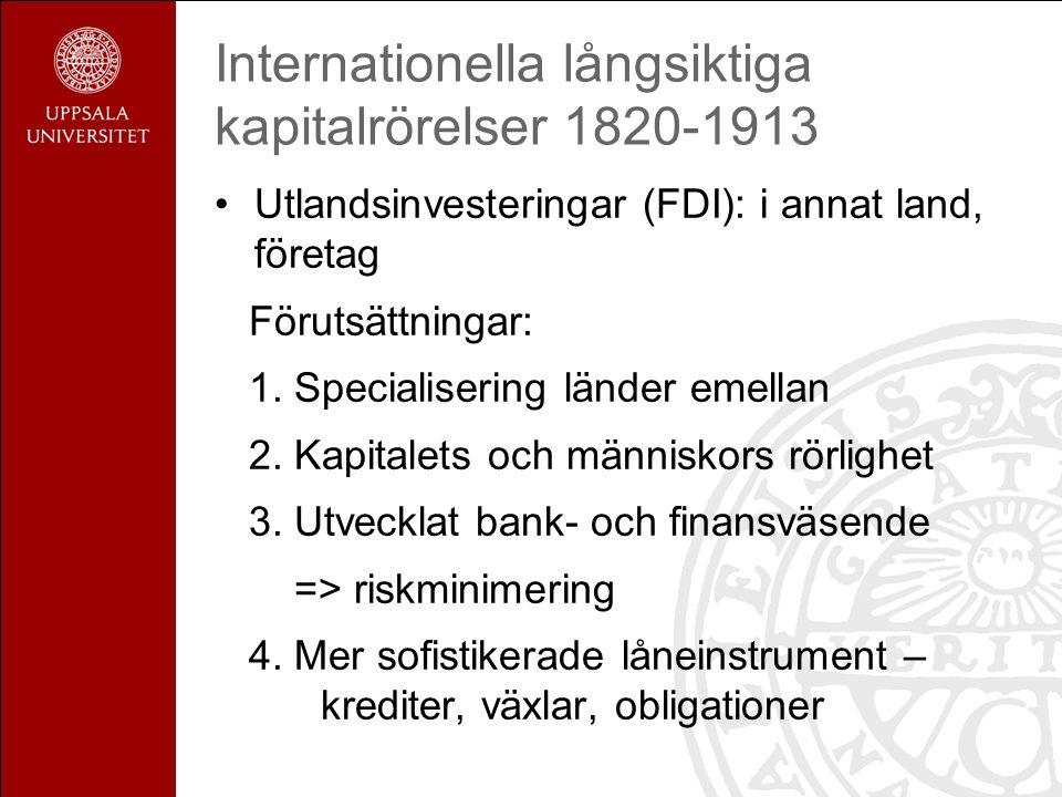 Internationella långsiktiga kapitalrörelser 1820-1913 Investeringarna: olika mål och riktning över tid.