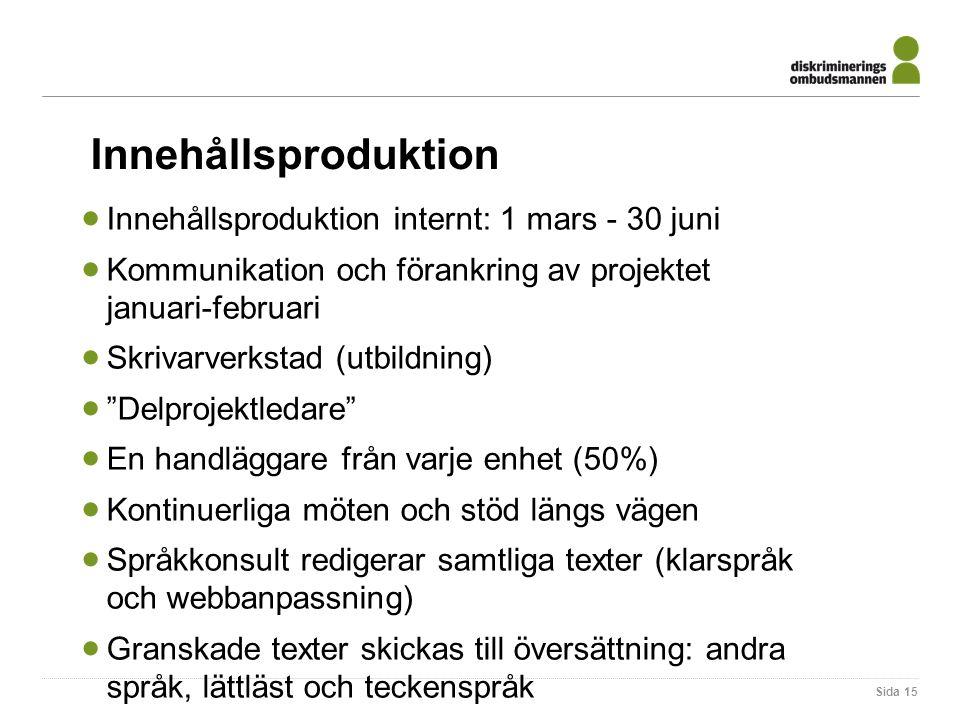 Innehållsproduktion  Innehållsproduktion internt: 1 mars - 30 juni  Kommunikation och förankring av projektet januari-februari  Skrivarverkstad (ut