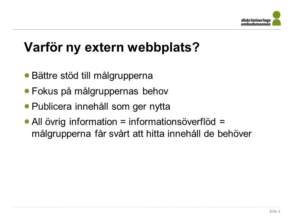 Varför ny extern webbplats.