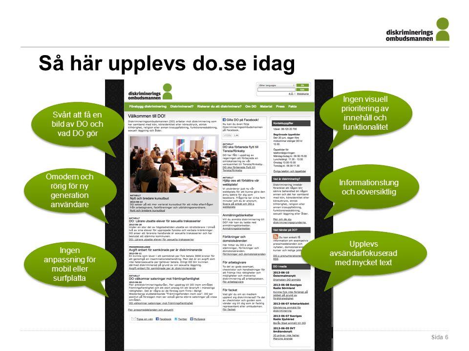 Sida 6 Informationstung och oöversiktlig Svårt att få en bild av DO och vad DO gör Ingen visuell prioritering av innehåll och funktionalitet Omodern o