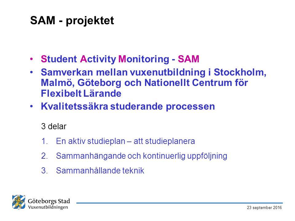 23 september 2016 SAM - projektet Student Activity Monitoring - SAM Samverkan mellan vuxenutbildning i Stockholm, Malmö, Göteborg och Nationellt Centrum för Flexibelt Lärande Kvalitetssäkra studerande processen 3 delar 1.En aktiv studieplan – att studieplanera 2.Sammanhängande och kontinuerlig uppföljning 3.Sammanhållande teknik