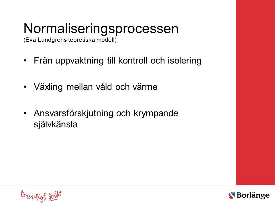 Normaliseringsprocessen (Eva Lundgrens teoretiska modell) Från uppvaktning till kontroll och isolering Växling mellan våld och värme Ansvarsförskjutning och krympande självkänsla