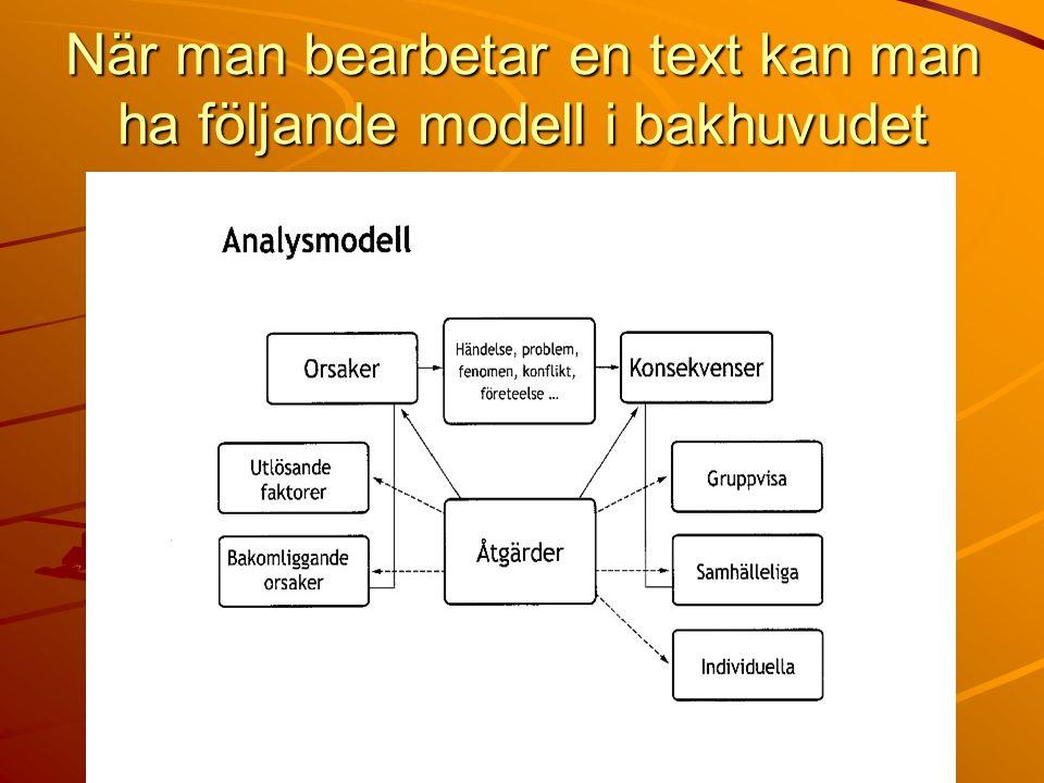 När man bearbetar en text kan man ha följande modell i bakhuvudet