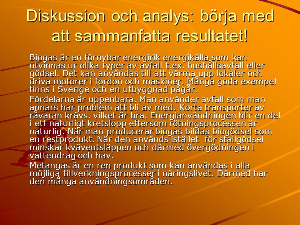 Diskussion och analys: börja med att sammanfatta resultatet.