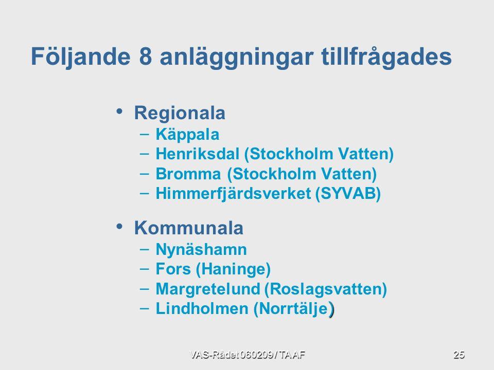 VAS-Rådet 060209 / TA AF25 Regionala – – Käppala – – Henriksdal (Stockholm Vatten) – – Bromma (Stockholm Vatten) – – Himmerfjärdsverket (SYVAB) Kommunala – – Nynäshamn – – Fors (Haninge) – – Margretelund (Roslagsvatten) –) – Lindholmen (Norrtälje ) Följande 8 anläggningar tillfrågades