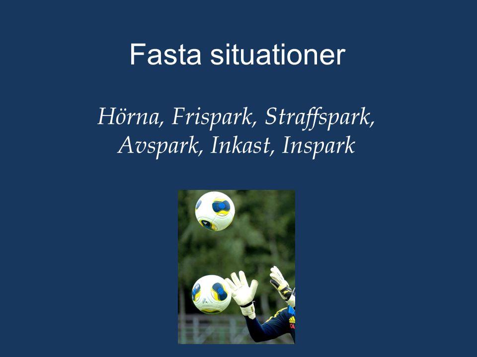 Fasta situationer Hörna, Frispark, Straffspark, Avspark, Inkast, Inspark