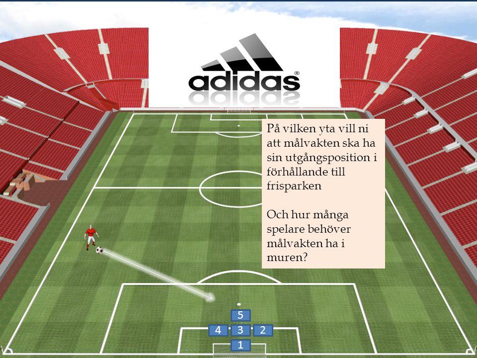 1 42 5 3 På vilken yta vill ni att målvakten ska ha sin utgångsposition i förhållande till frisparken Och hur många spelare behöver målvakten ha i muren