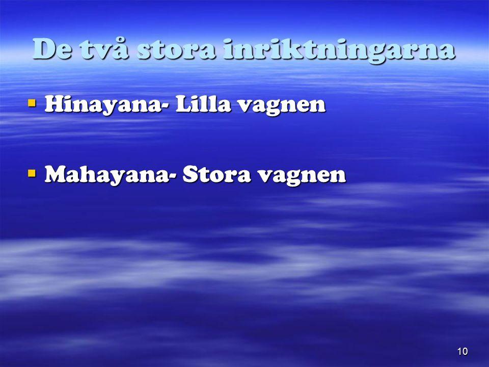 10 De två stora inriktningarna  Hinayana- Lilla vagnen  Mahayana- Stora vagnen