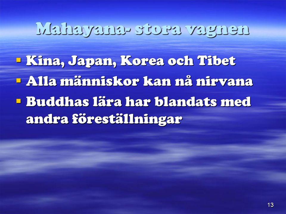 13 Mahayana- stora vagnen  Kina, Japan, Korea och Tibet  Alla människor kan nå nirvana  Buddhas lära har blandats med andra föreställningar