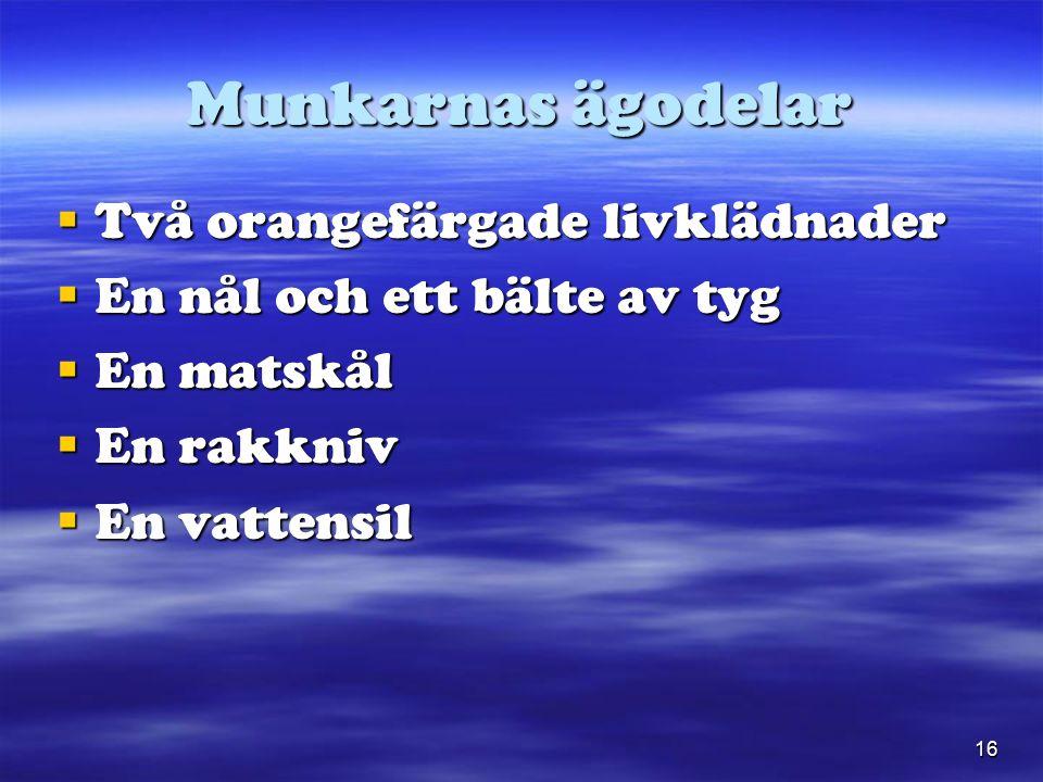 16 Munkarnas ägodelar  Två orangefärgade livklädnader  En nål och ett bälte av tyg  En matskål  En rakkniv  En vattensil