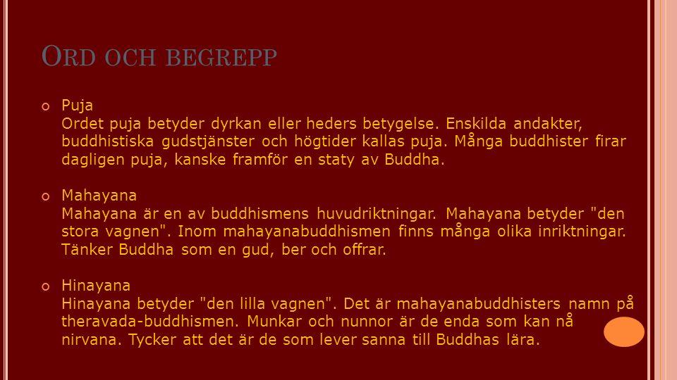 O RD OCH BEGREPP Puja Ordet puja betyder dyrkan eller heders betygelse. Enskilda andakter, buddhistiska gudstjänster och högtider kallas puja. Många b
