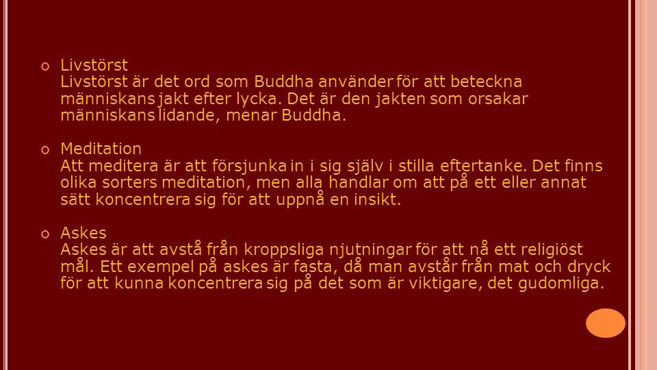 Livstörst Livstörst är det ord som Buddha använder för att beteckna människans jakt efter lycka. Det är den jakten som orsakar människans lidande, men