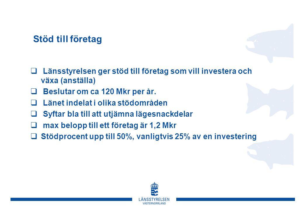 Stöd till företag  Länsstyrelsen ger stöd till företag som vill investera och växa (anställa)  Beslutar om ca 120 Mkr per år.