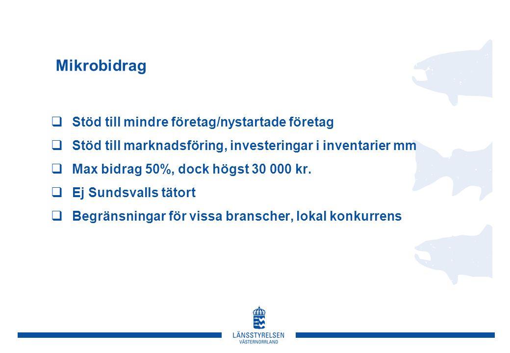 Mikrobidrag  Stöd till mindre företag/nystartade företag  Stöd till marknadsföring, investeringar i inventarier mm  Max bidrag 50%, dock högst 30 000 kr.