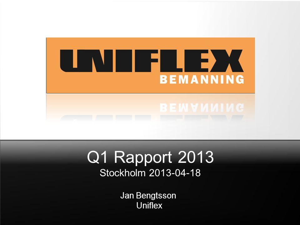 Q1 Rapport 2013 Stockholm 2013-04-18 Jan Bengtsson Uniflex