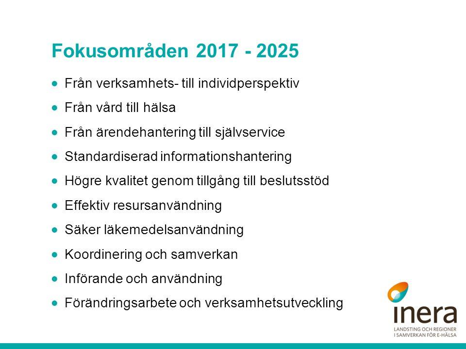 Fokusområden 2017 - 2025  Från verksamhets- till individperspektiv  Från vård till hälsa  Från ärendehantering till självservice  Standardiserad informationshantering  Högre kvalitet genom tillgång till beslutsstöd  Effektiv resursanvändning  Säker läkemedelsanvändning  Koordinering och samverkan  Införande och användning  Förändringsarbete och verksamhetsutveckling
