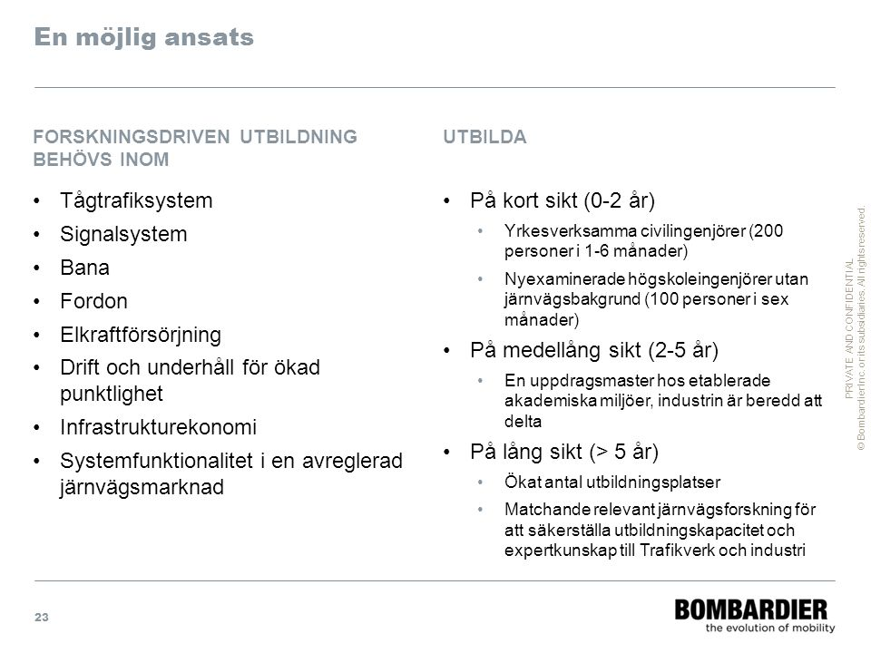 PRIVATE AND CONFIDENTIAL © Bombardier Inc. or its subsidiaries. All rights reserved. En möjlig ansats Tågtrafiksystem Signalsystem Bana Fordon Elkraft