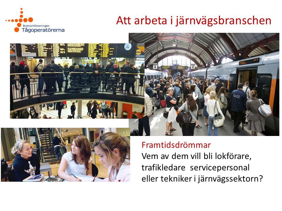 Att arbeta i järnvägsbranschen Framtidsdrömmar Vem av dem vill bli lokförare, trafikledare servicepersonal eller tekniker i järnvägssektorn?