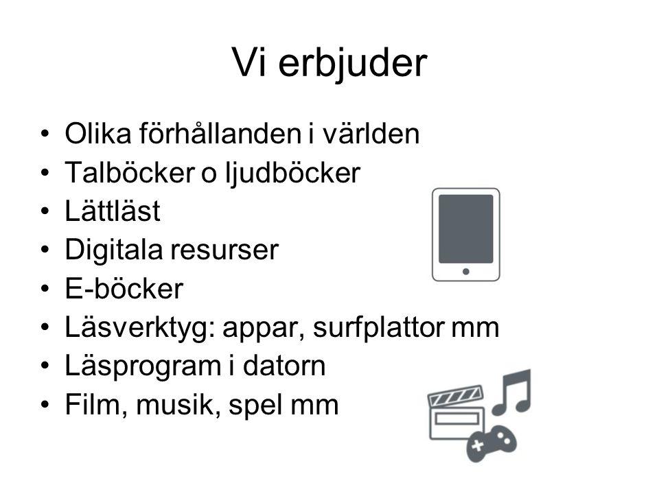 Vi erbjuder Olika förhållanden i världen Talböcker o ljudböcker Lättläst Digitala resurser E-böcker Läsverktyg: appar, surfplattor mm Läsprogram i datorn Film, musik, spel mm