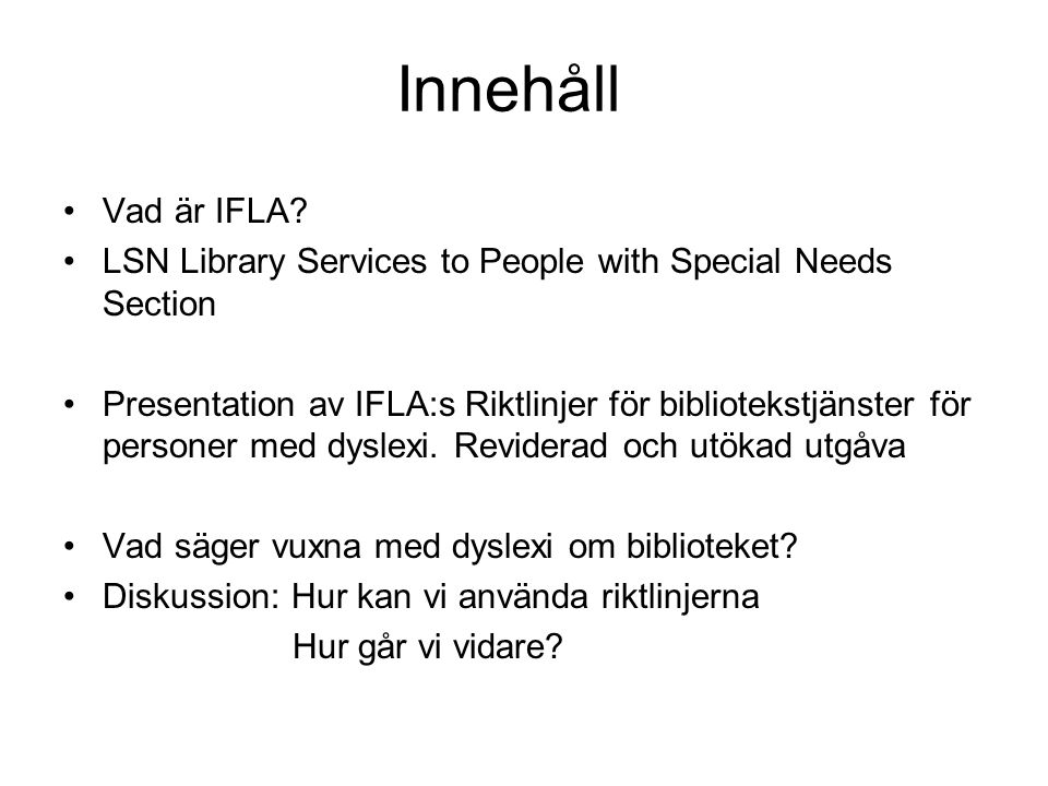 IFLA Library Services to People with Special Needs Section