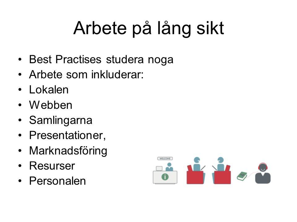 Arbete på lång sikt Best Practises studera noga Arbete som inkluderar: Lokalen Webben Samlingarna Presentationer, Marknadsföring Resurser Personalen