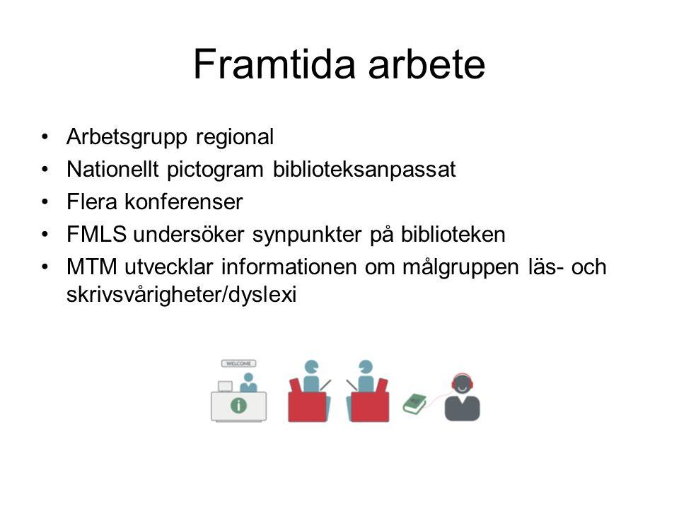 Framtida arbete Arbetsgrupp regional Nationellt pictogram biblioteksanpassat Flera konferenser FMLS undersöker synpunkter på biblioteken MTM utvecklar informationen om målgruppen läs- och skrivsvårigheter/dyslexi