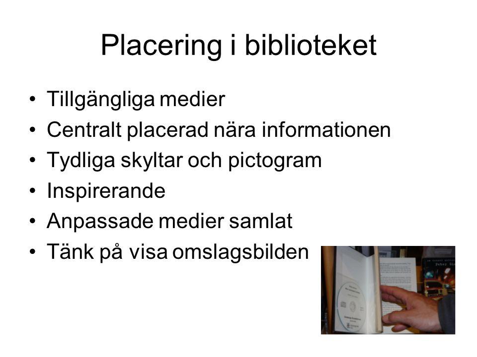 Placering i biblioteket Tillgängliga medier Centralt placerad nära informationen Tydliga skyltar och pictogram Inspirerande Anpassade medier samlat Tänk på visa omslagsbilden