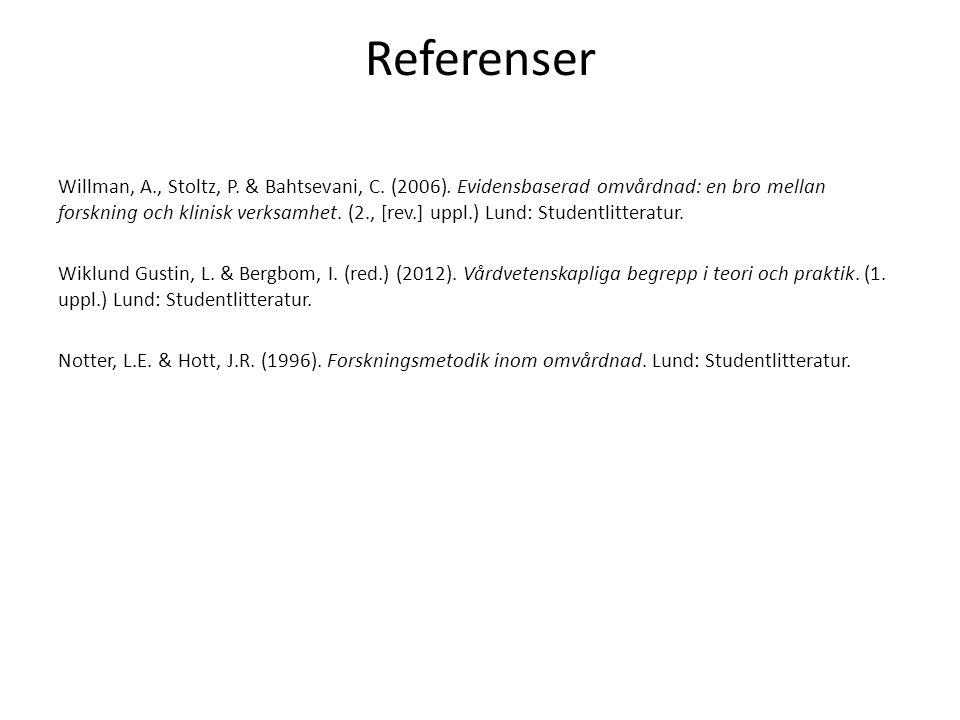 Referenser Willman, A., Stoltz, P.& Bahtsevani, C.