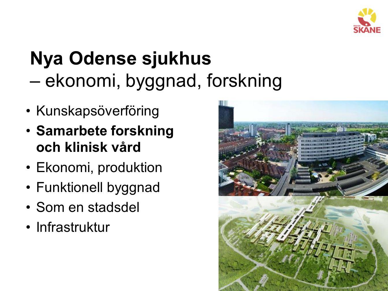 Nya Odense sjukhus – ekonomi, byggnad, forskning Kunskapsöverföring Samarbete forskning och klinisk vård Ekonomi, produktion Funktionell byggnad Som en stadsdel Infrastruktur