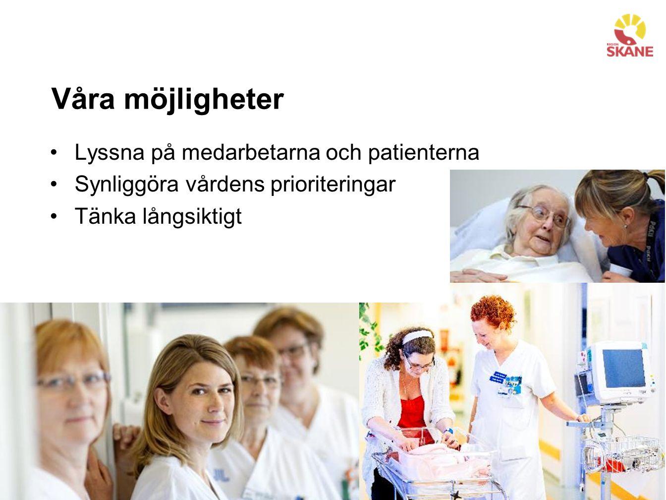 Våra möjligheter Lyssna på medarbetarna och patienterna Synliggöra vårdens prioriteringar Tänka långsiktigt